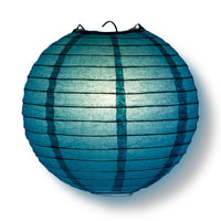 "4"" Tahiti Teal Round Paper Lantern, Even Ribbing, Hanging Decoration (10-Pack) - PaperLanternStore.com - Paper Lanterns, Decor, Party Lights & More"
