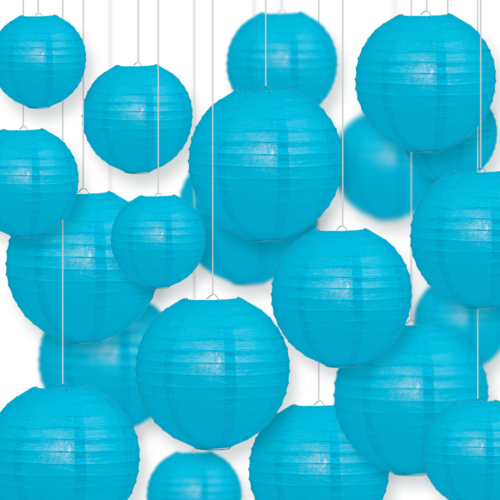 Ultimate 20pc Turquoise Paper Lantern Party Pack - Assorted Sizes of 6, 8, 10, 12 for Weddings, Birthday, Events and Decor