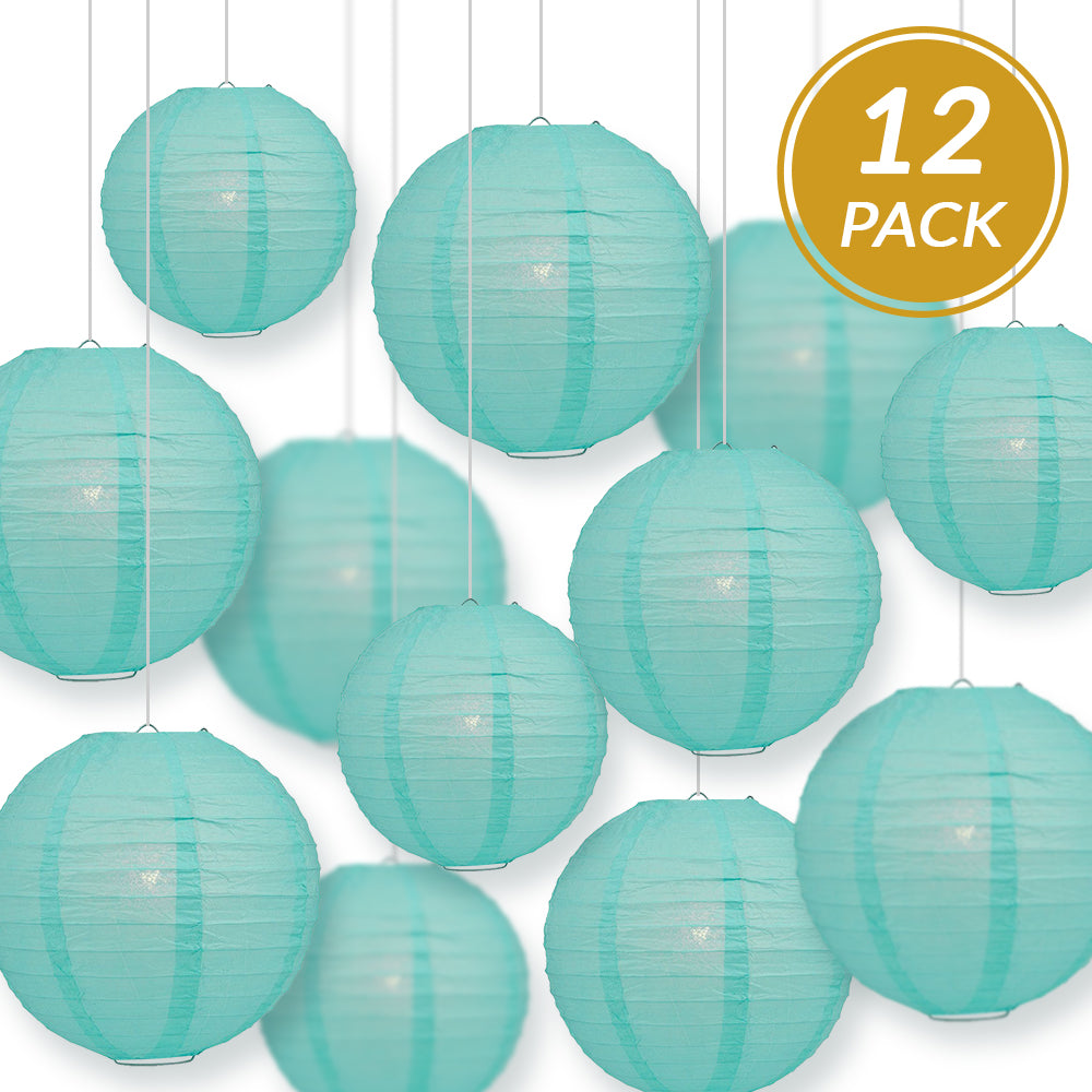 12-PC Water Blue Paper Lantern Chinese Hanging Wedding & Party Assorted Decoration Set, 12/10/8-Inch