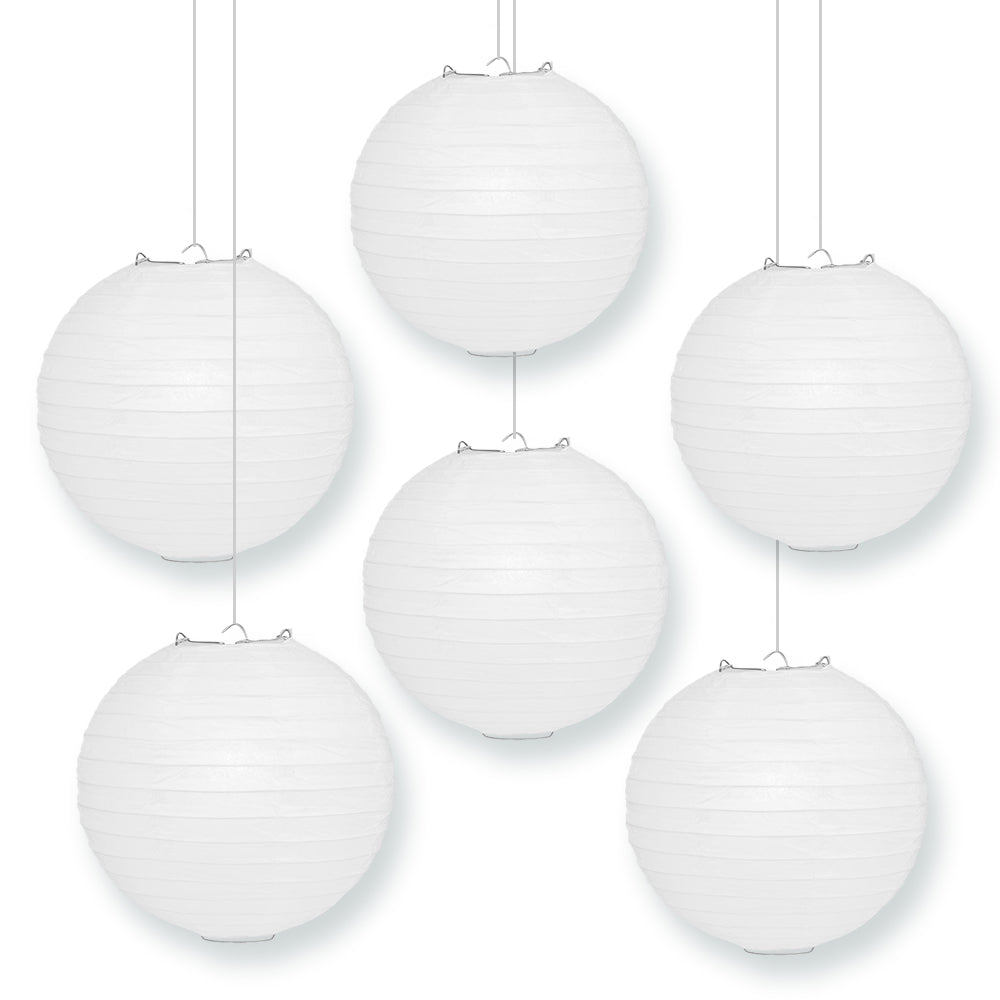 "BULK PACK (6) 12"" White Round Paper Lanterns, Even Ribbing, Hanging Decoration"