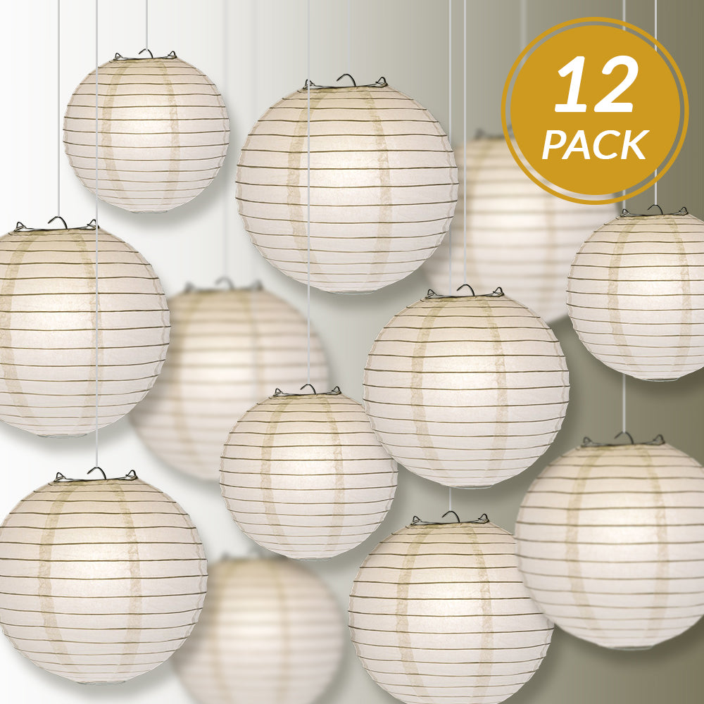 12-PC White Paper Lantern Chinese Hanging Wedding & Party Assorted Decoration Set, 12/10/8-Inch