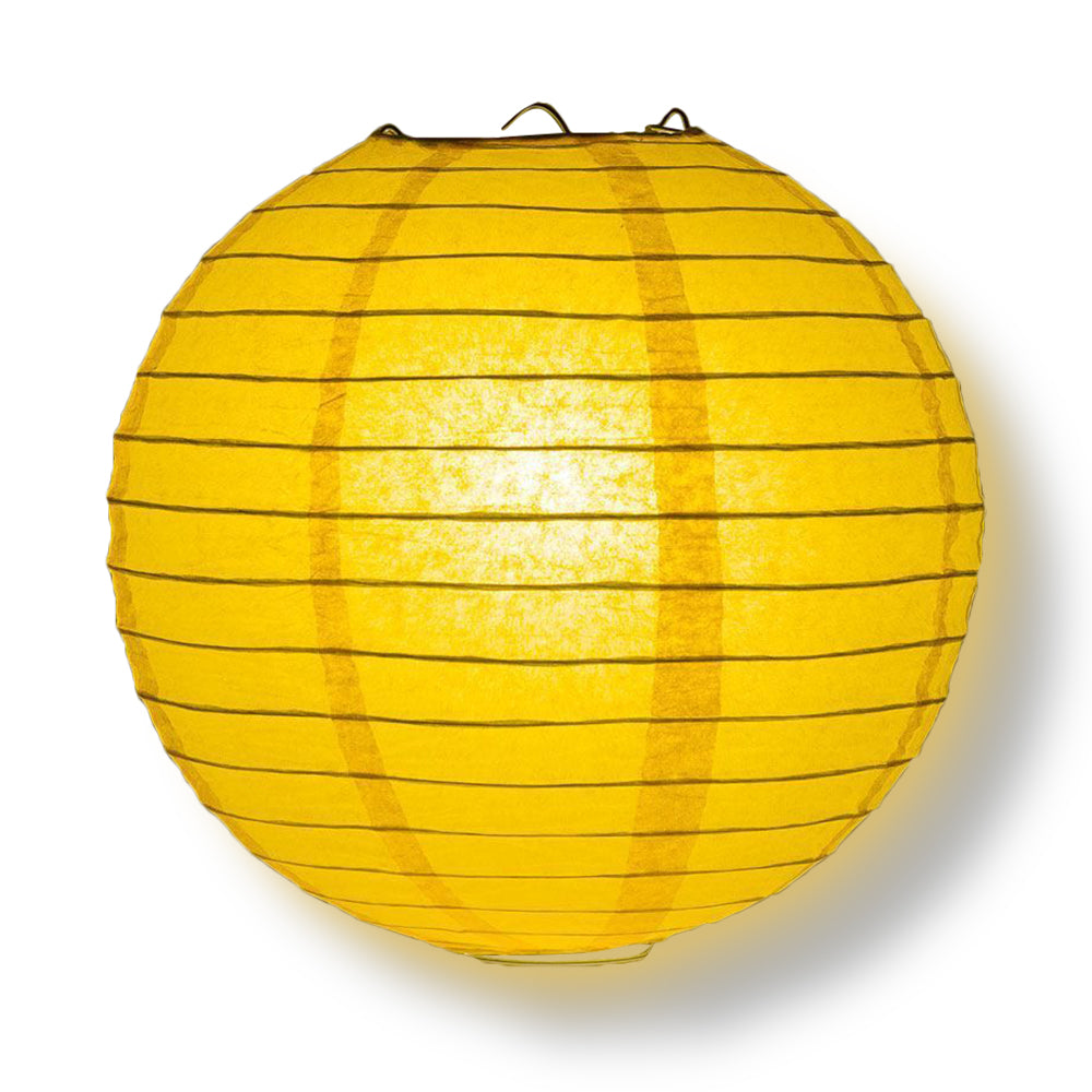 "BLOWOUT 4"" Yellow-Orange Round Paper Lantern, Even Ribbing, Hanging Decoration (10 PACK)"