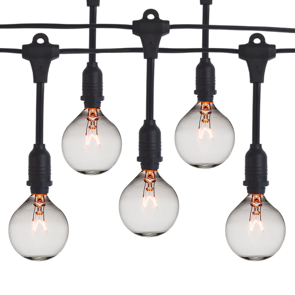50 Socket Suspended Outdoor Commercial String Light Set, Clear Globe Bulbs, 54 FT Black Cord w/ E12 C7 Base, Weatherproof