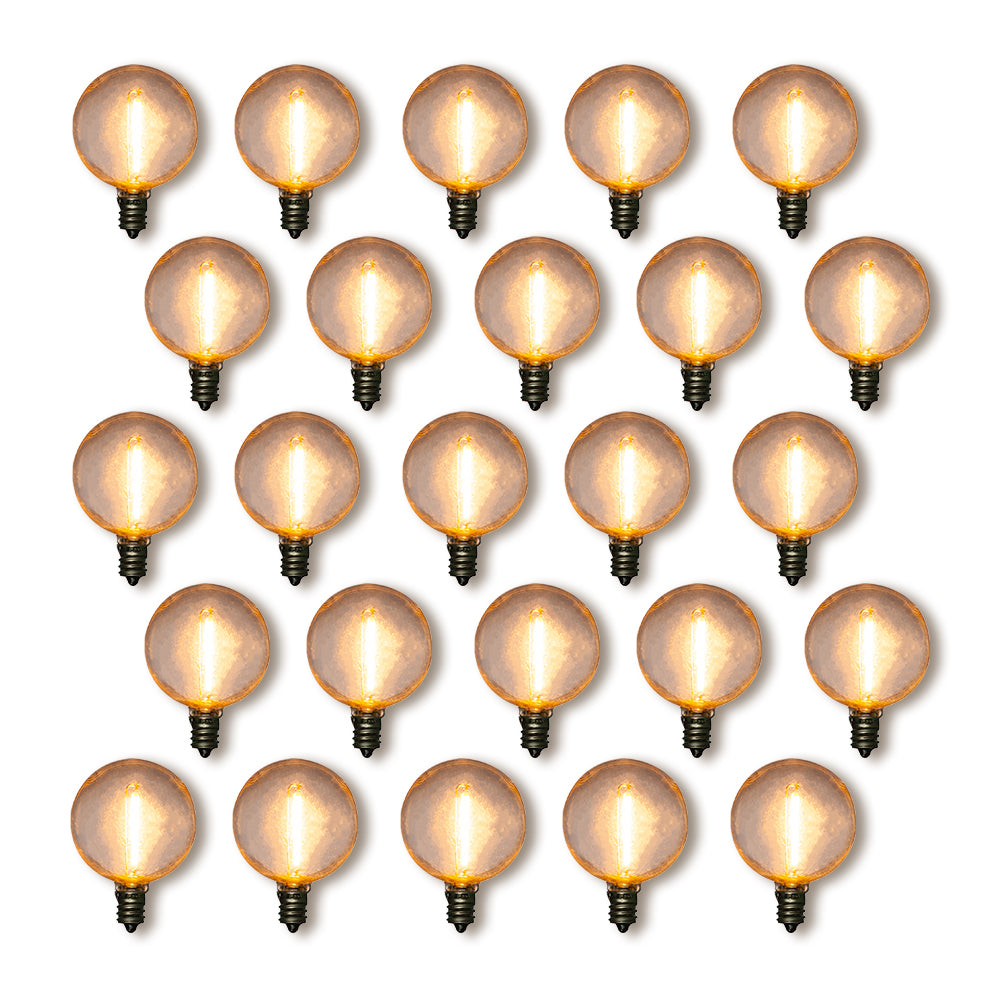 25-Pack LED Filament G40 Globe Shatterproof Light Bulb, Dimmable, 1W,  E12 Candelabra Base