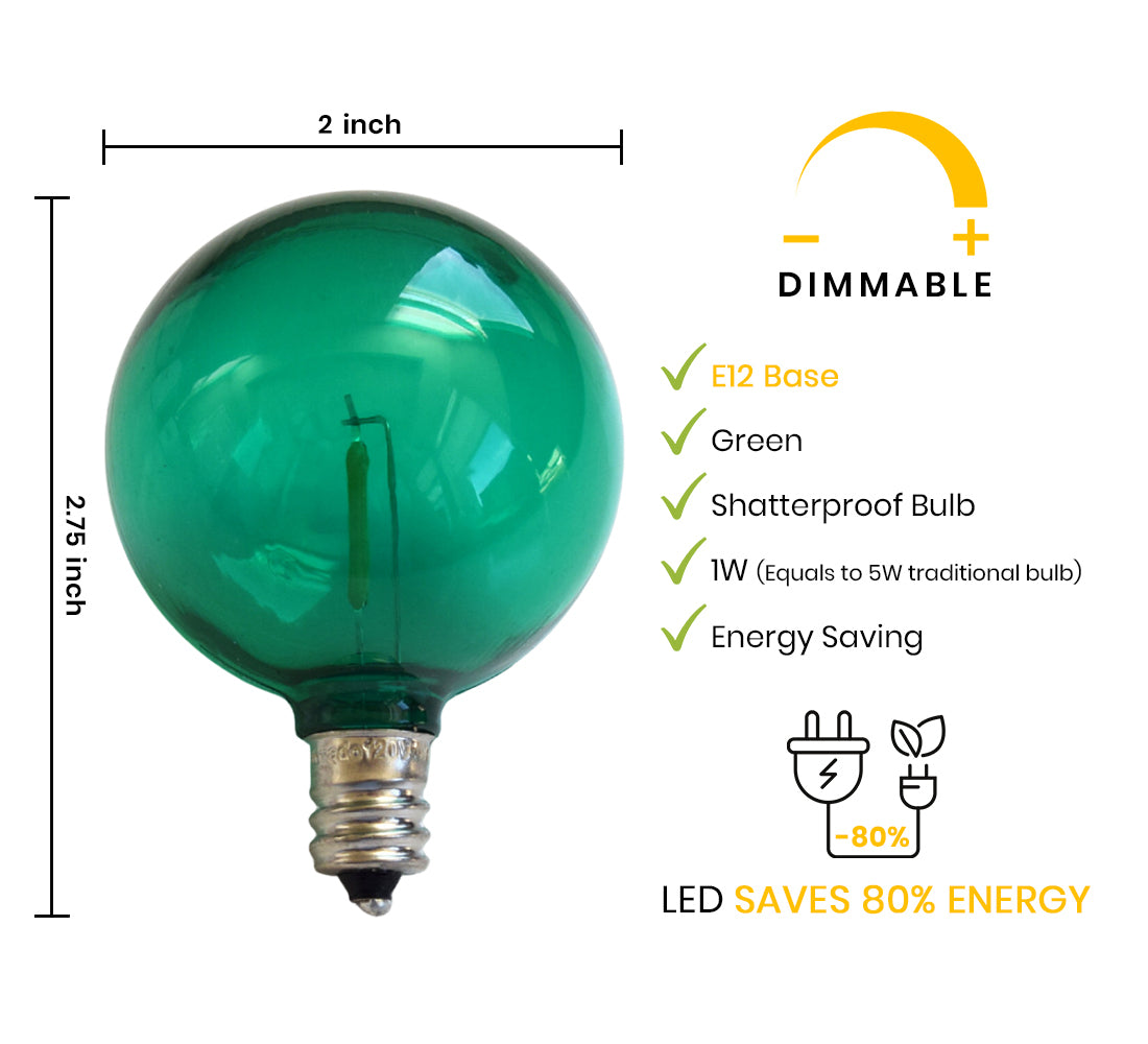 Green LED Filament G50 Globe Shatterproof Energy Saving Light Bulb, Dimmable, 1W,  E12 Candelabra Base (Estimated Arrival: 5/25/21)