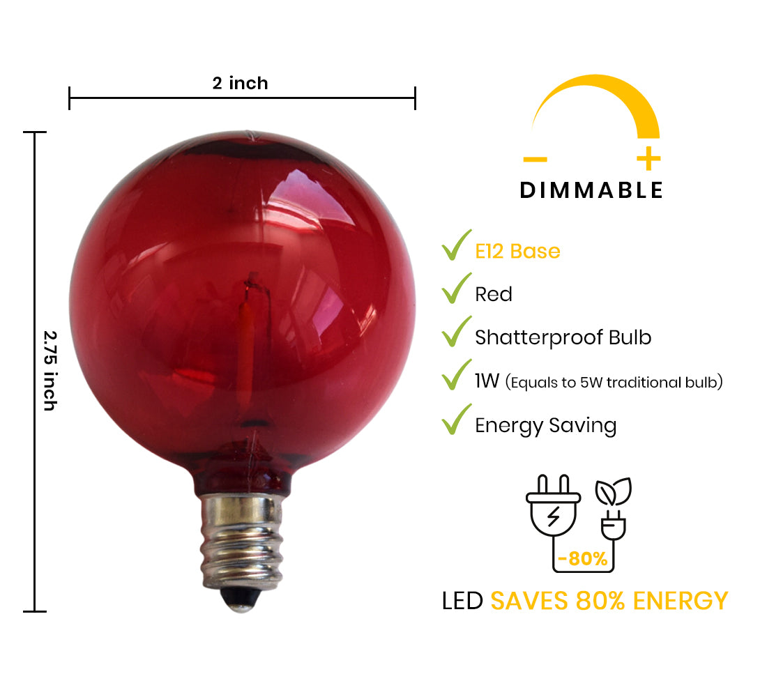 Red LED Filament G50 Globe Shatterproof Energy Saving Light Bulb, Dimmable, 1W,  E12 Candelabra Base