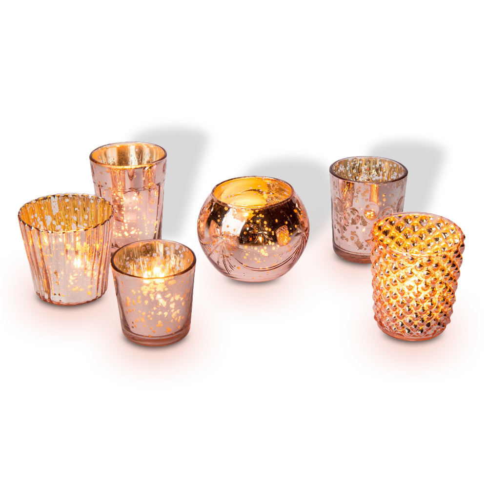 Best of Show Vintage Mercury Glass Votive Tea Light Candle Holders - Rose Gold Pink (6 PACK, Assorted Designs)