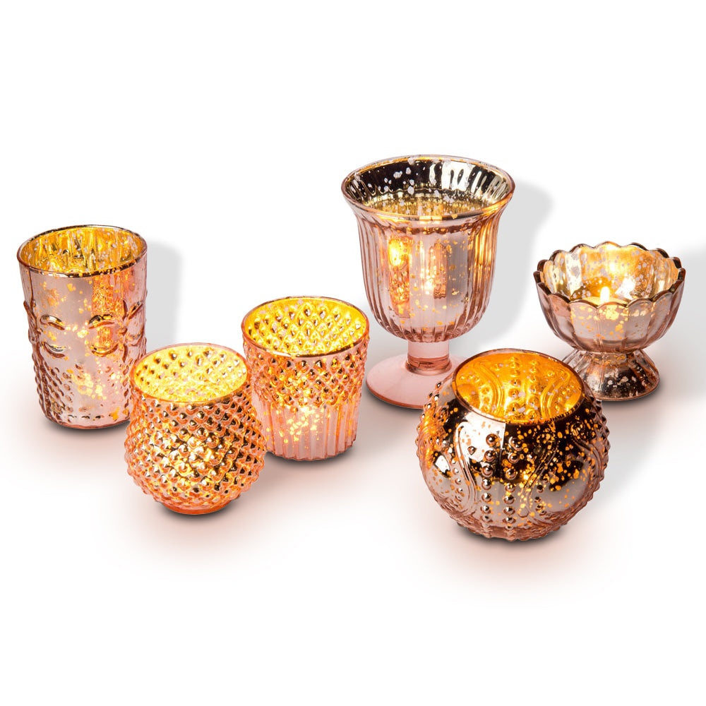 Vintage Glam Rose Gold Pink Mercury Glass Tea Light Votive Candle Holders (6 PACK, Assorted Designs and Sizes)