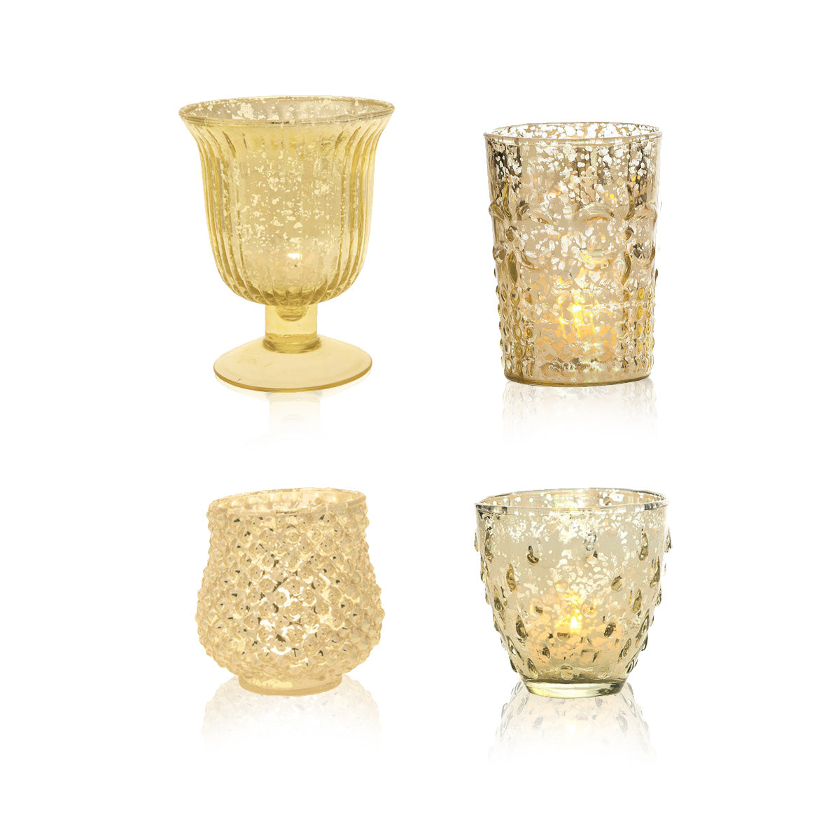 Farmhouse Gold Mercury Glass Tea Light Votive Candle Holders (Set of 4, Assorted Designs and Sizes)