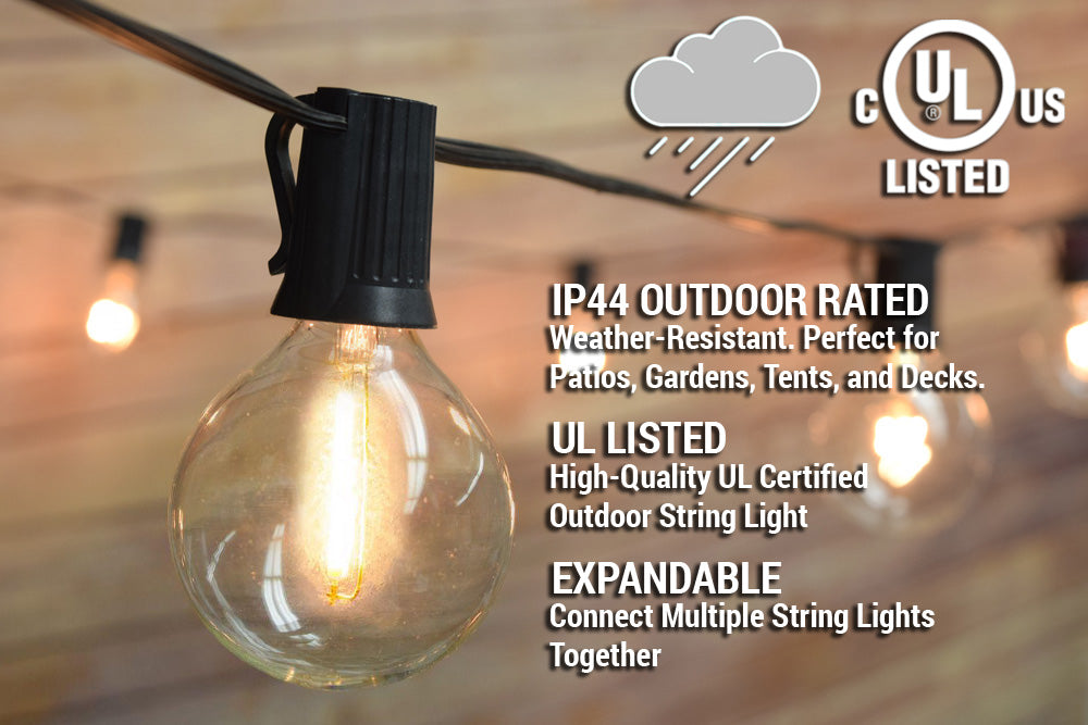 51 FT Shatterproof Light Bulb LED Outdoor Patio String Light Set, 50 Socket E12 C7 Base, Black Cord
