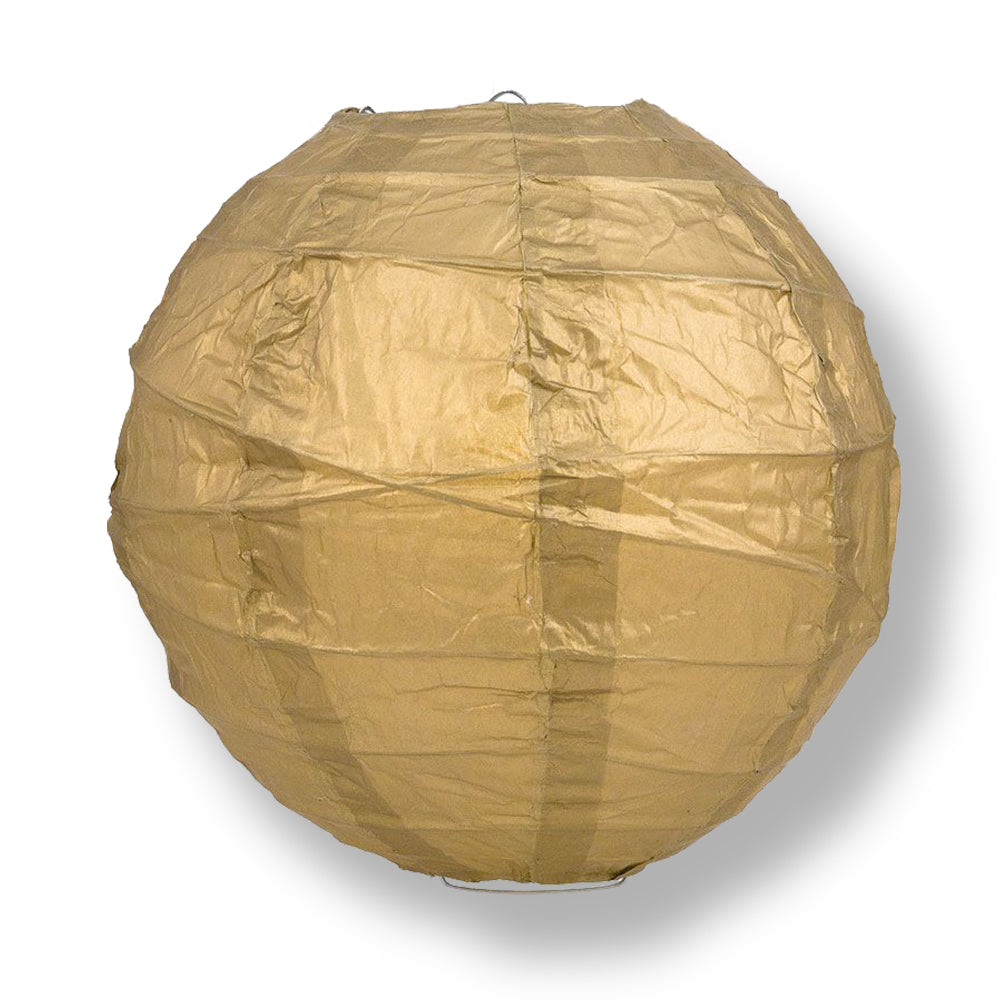 "24"" Gold Round Paper Lantern, Crisscross Ribbing, Chinese Hanging Wedding & Party Decoration"