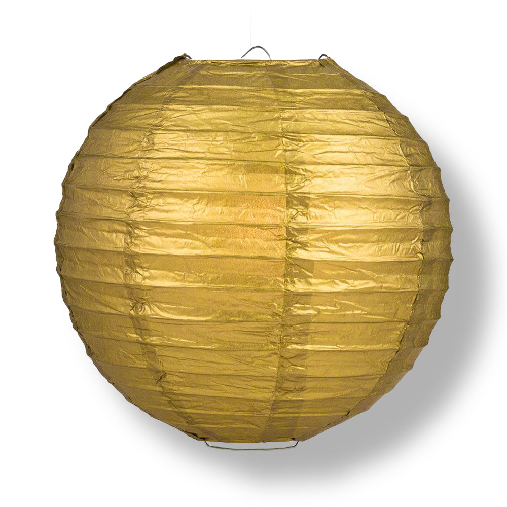 "10"" Gold Round Paper Lantern, Even Ribbing, Chinese Hanging Wedding & Party Decoration"
