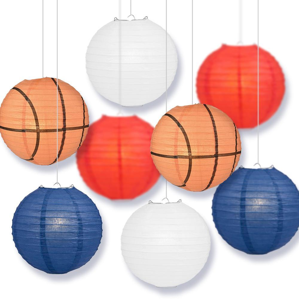 Washington College Basketball 14-inch Paper Lanterns 8pc Combo Party Pack - White, Navy Blue, Red - PaperLanternStore.com - Paper Lanterns, Decor, Party Lights & More