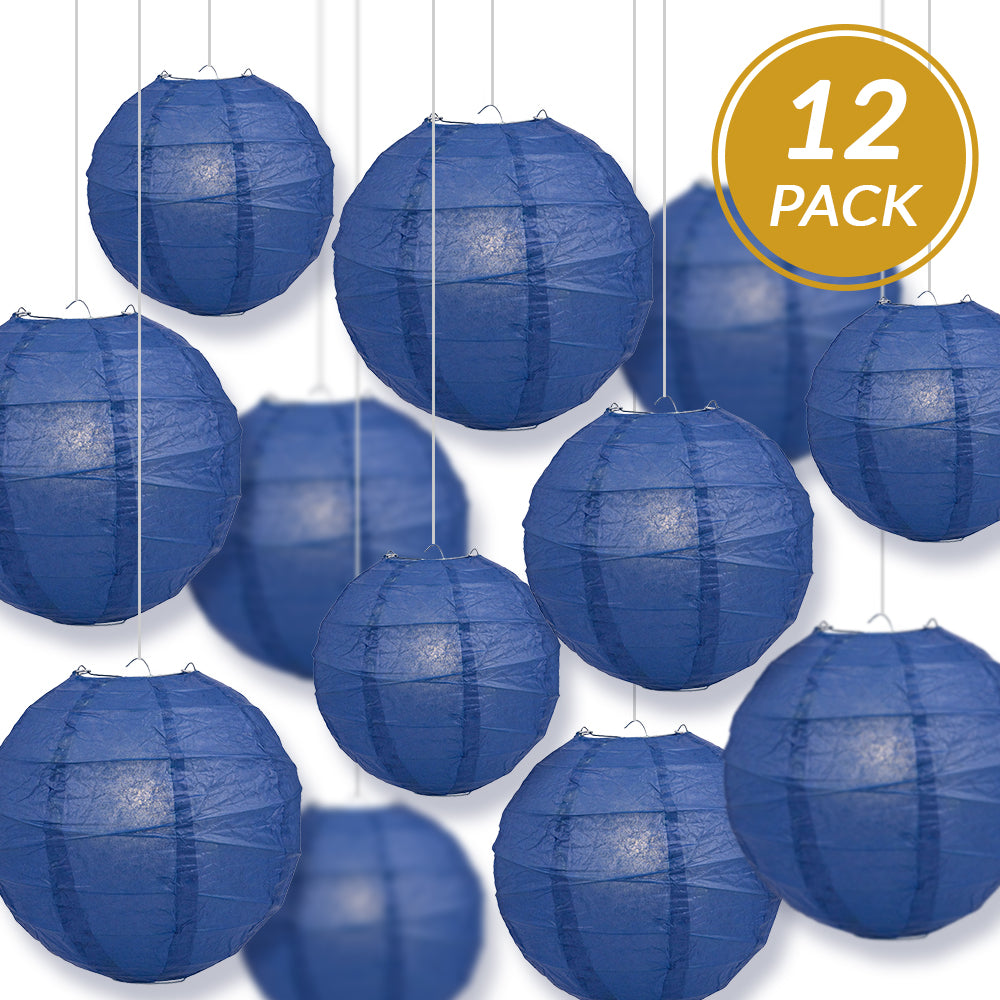 12-PC Navy Blue Paper Lantern Chinese Hanging Wedding & Party Assorted Decoration Set, 12/10/8-Inch