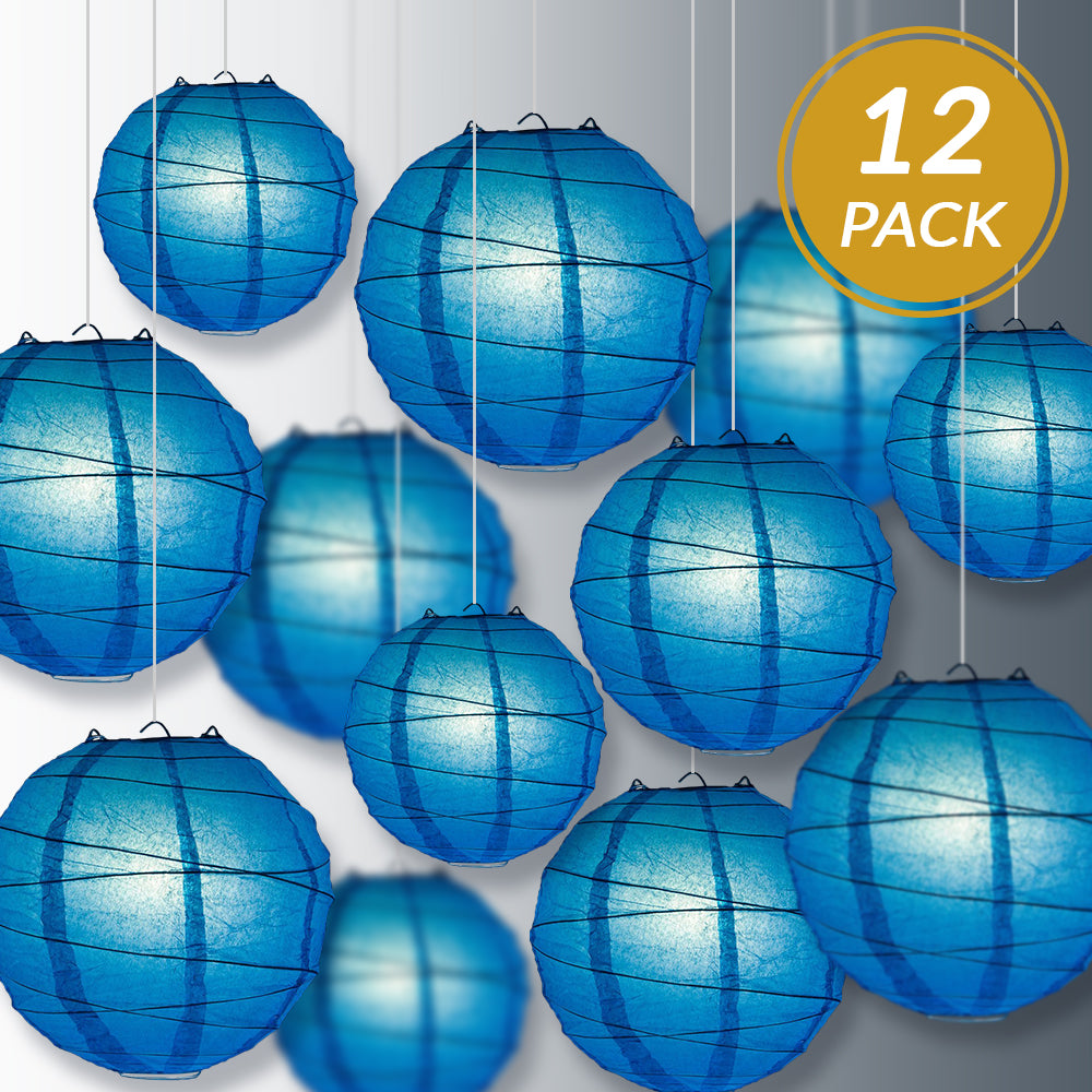 12-PC Turquoise Paper Lantern Chinese Hanging Wedding & Party Assorted Decoration Set, 12/10/8-Inch