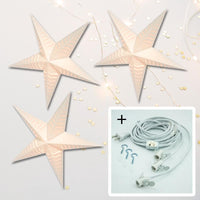 "3-PACK + Cord | Luna 36"" Illuminated Paper Star Lanterns and Lamp Cord Hanging Decorations"