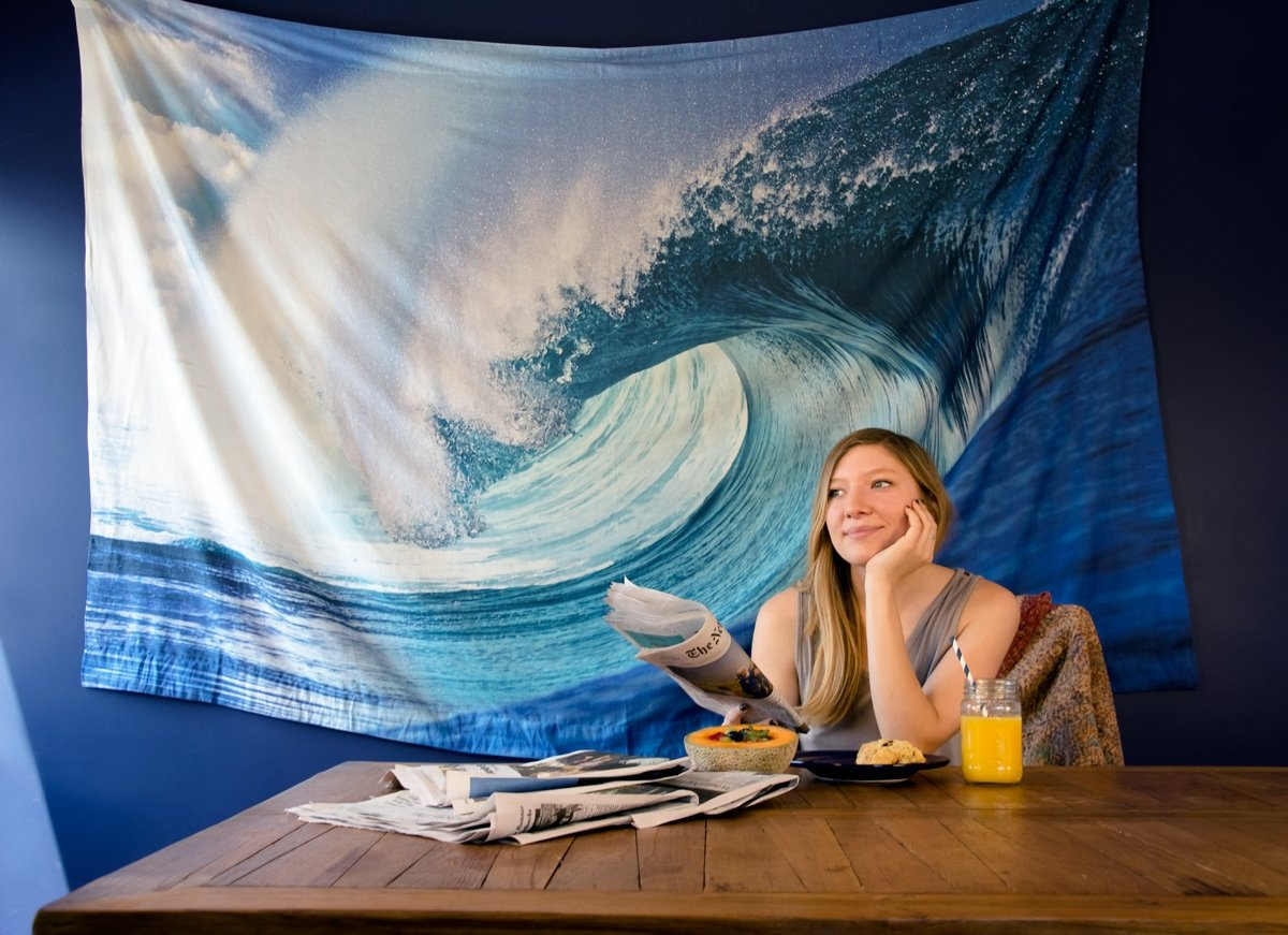 BLOWOUT Teahupoo Surf Photo Tapestry - (Medium, 7.5 X 4.8 Feet, 100% Cotton, Fair Trade Certified) - PaperLanternStore.com - Paper Lanterns, Decor, Party Lights & More