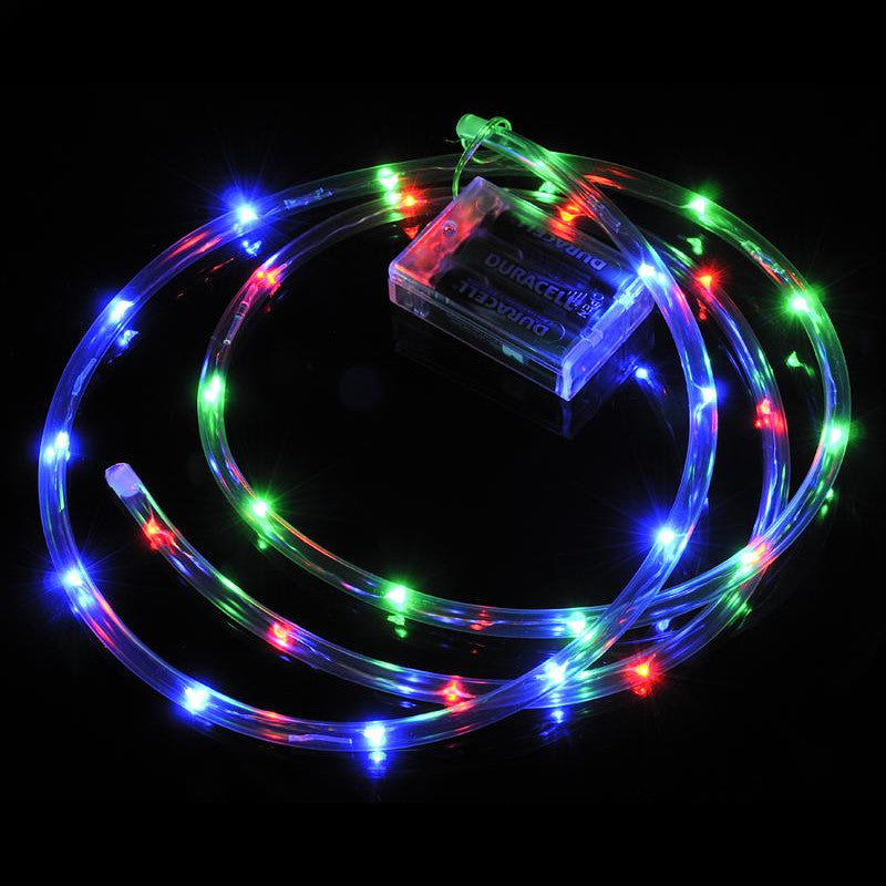 30 LED RGB Waterproof String Rope Light, 6 FT Clear Submersible Tube, Battery Operated Powered