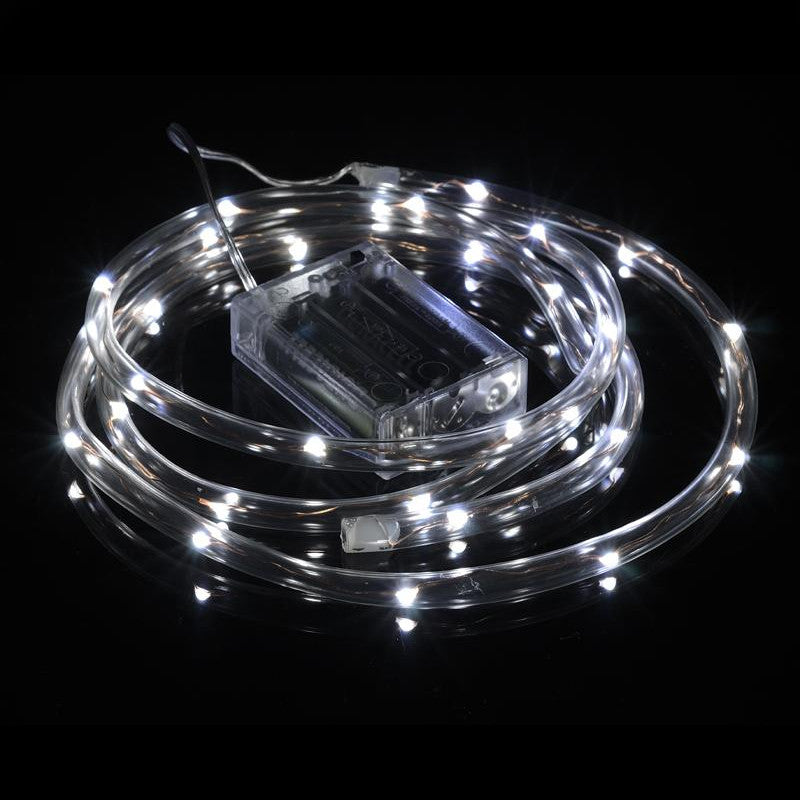 BLOWOUT 30 LED Cool White Waterproof String Rope Light, 6 FT Clear Submersible Tube, Battery Operated Powered