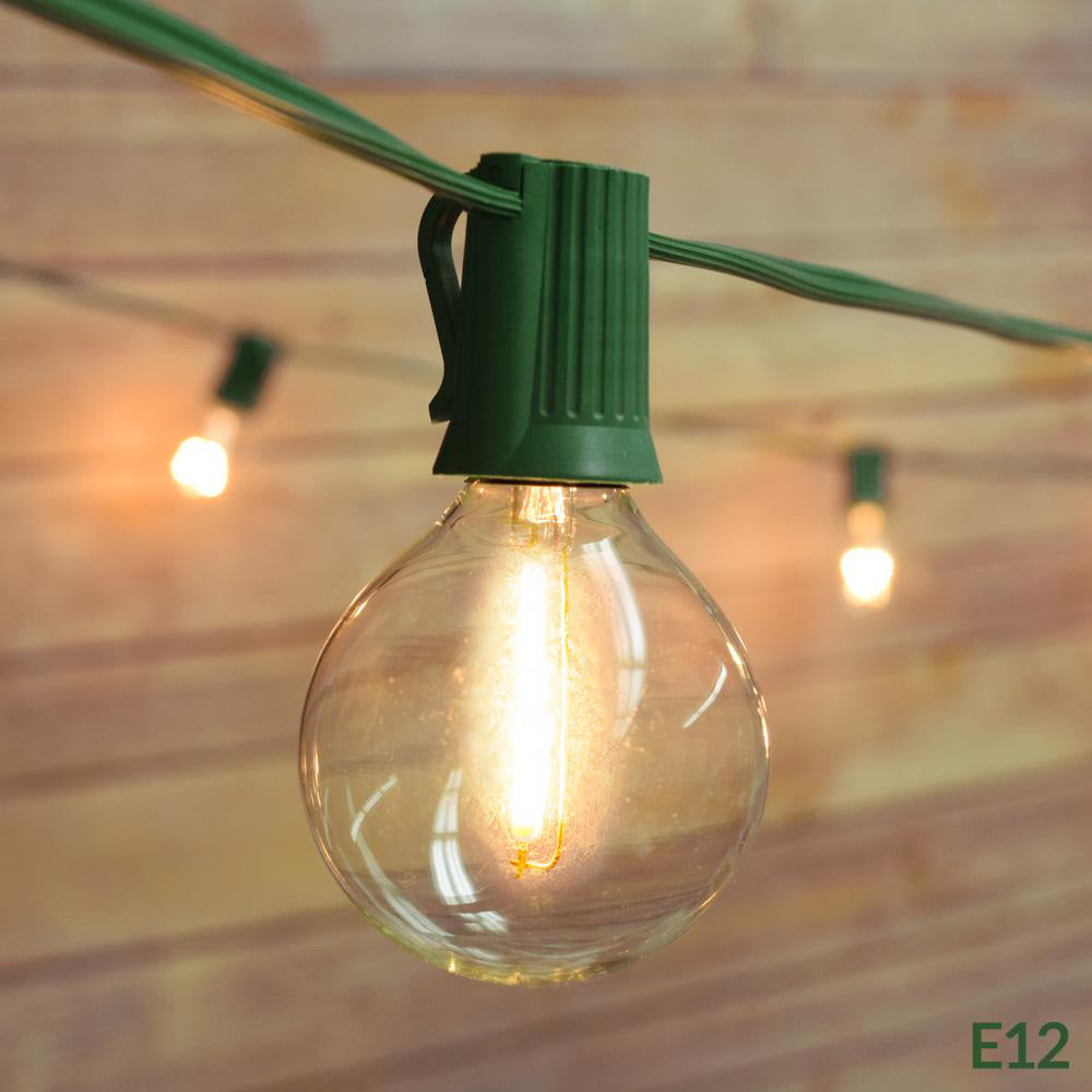 28 FT Shatterproof Light Bulb LED Outdoor Patio String Light Set, 25 Socket E12 C7 Base, Green Cord