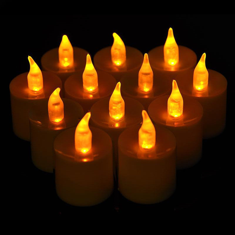 Large Amber Flameless LED Battery Operated Candle (12 Pack)
