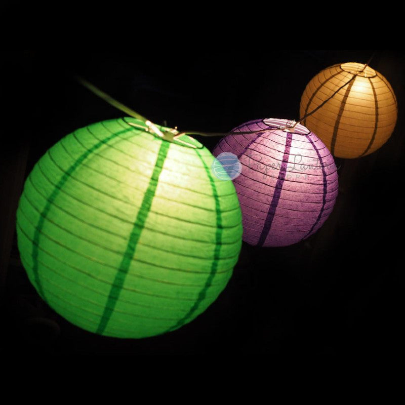 "12"" Mardi Gras Carnaval Festive Paper Lantern String Light COMBO Kit (31 FT) - PaperLanternStore.com - Paper Lanterns, Decor, Party Lights & More"