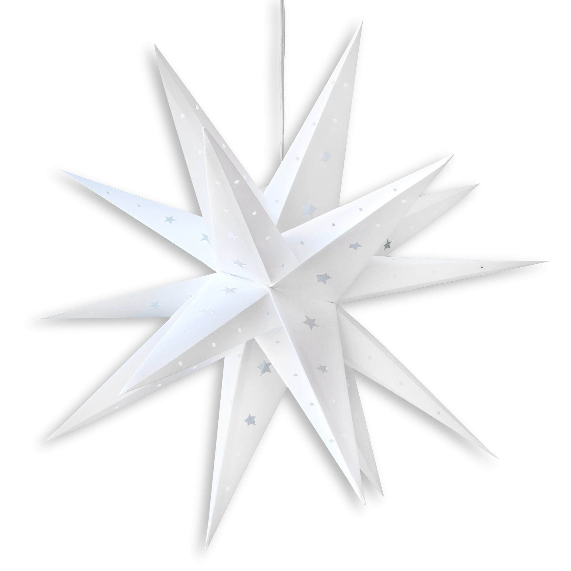 "24"" White Moravian Weatherproof Star Lantern Lamp, Multi-Point Hanging Decoration - PaperLanternStore.com - Paper Lanterns, Decor, Party Lights & More"