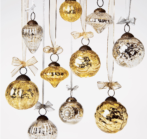 Mercury Glass Small Ornaments (2 to 2.25-Inch, Silver, Lois Design, Single)