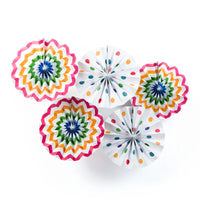 BLOWOUT Fun Party Multi-Color Chevron Paper Flower Pinwheel Fan Backdrop Wall Decoration Kit (5-PACK)