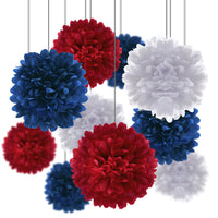 Patriotic Celebration Party Pack Tissue Paper Pom Pom Combo Set (24 pc Set)