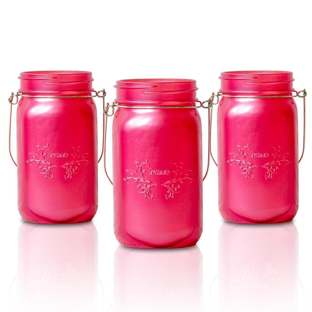 BLOWOUT (6-Pack) Fantado Wide Mouth Frosted Fuchsia / Hot Pink Mason Jar w/ Handle, 32oz - PaperLanternStore.com - Paper Lanterns, Decor, Party Lights & More