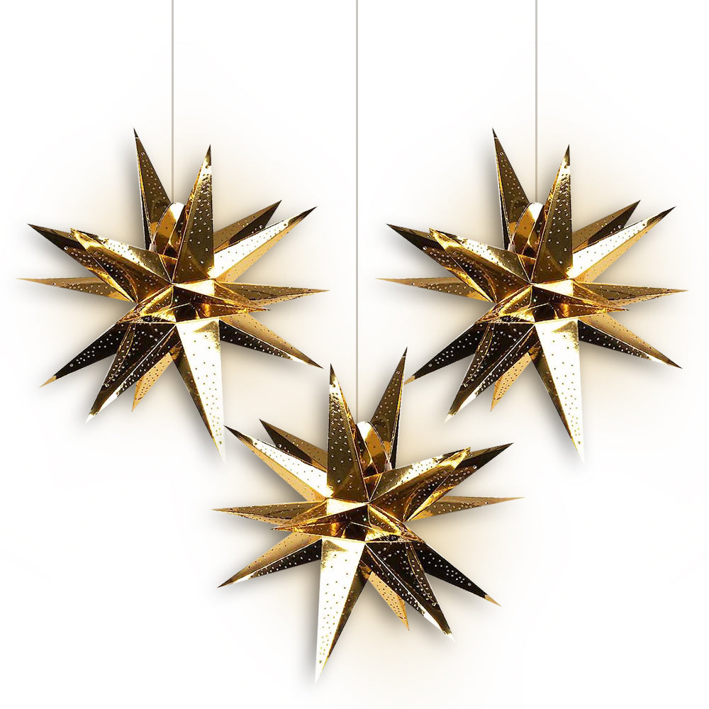 "3-PACK + Cord | Gold Moravian Multi-Point 24"" Illuminated Paper Star Lanterns and Lamp Cord Hanging Decorations"