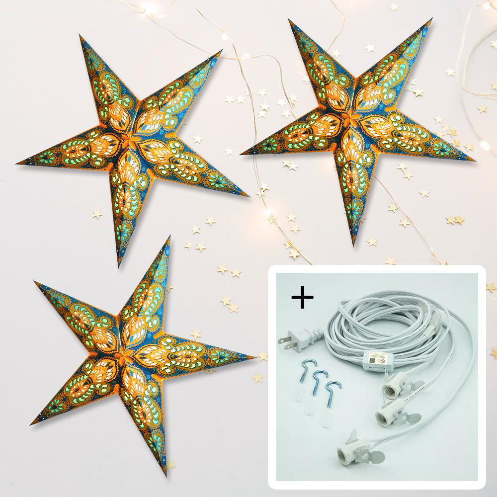 "3-PACK + Cord | Turquoise Blue and Yellow Glitter Peacock 24"" Illuminated Paper Star Lanterns and Lamp Cord Hanging Decorations"