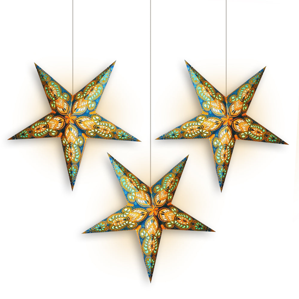 "3-PACK + Cord | Turquoise Blue and Yellow Glitter Peacock 24"" Illuminated Paper Star Lanterns and Lamp Cord Hanging Decorations - PaperLanternStore.com - Paper Lanterns, Decor, Party Lights & More"
