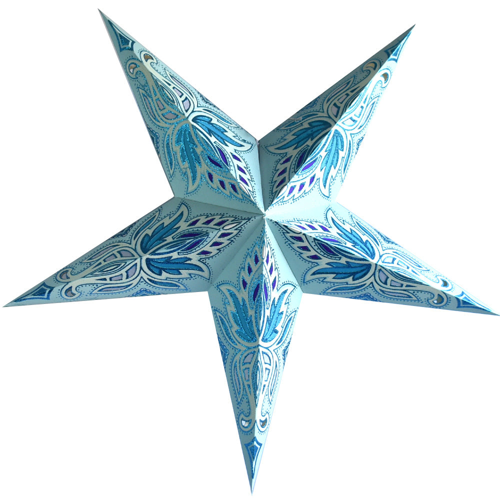 "BLOWOUT 24"" Pale Turquoise Blue Lotus Glitter Paper Star Lantern, Hanging"