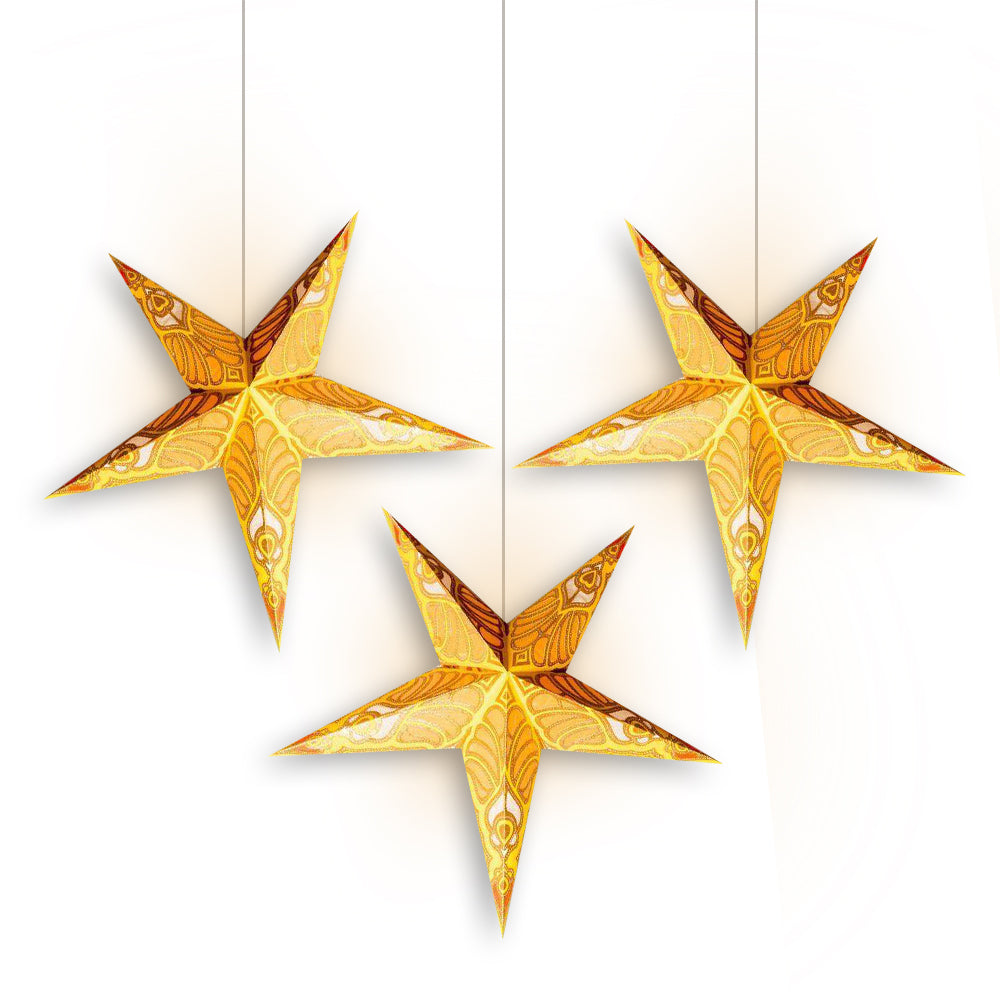 "3-PACK + Cord | Yellow Parrot Glitter 24"" Illuminated Paper Star Lanterns and Lamp Cord Hanging Decorations - PaperLanternStore.com - Paper Lanterns, Decor, Party Lights & More"