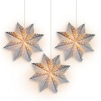 "3-PACK + Cord | White Solstice 24"" Pizzelle Designer Illuminated Paper Star Lanterns and Lamp Cord Hanging Decorations - PaperLanternStore.com - Paper Lanterns, Decor, Party Lights & More"