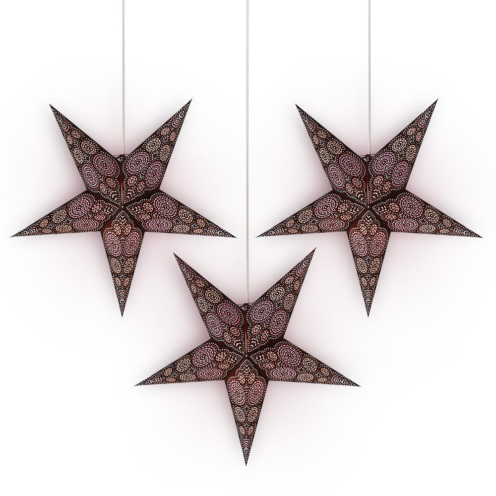 "3-PACK + Cord | 24"" Brown / Purple Aussie Paper Star Lantern and Lamp Cord Hanging Decoration - PaperLanternStore.com - Paper Lanterns, Decor, Party Lights & More"