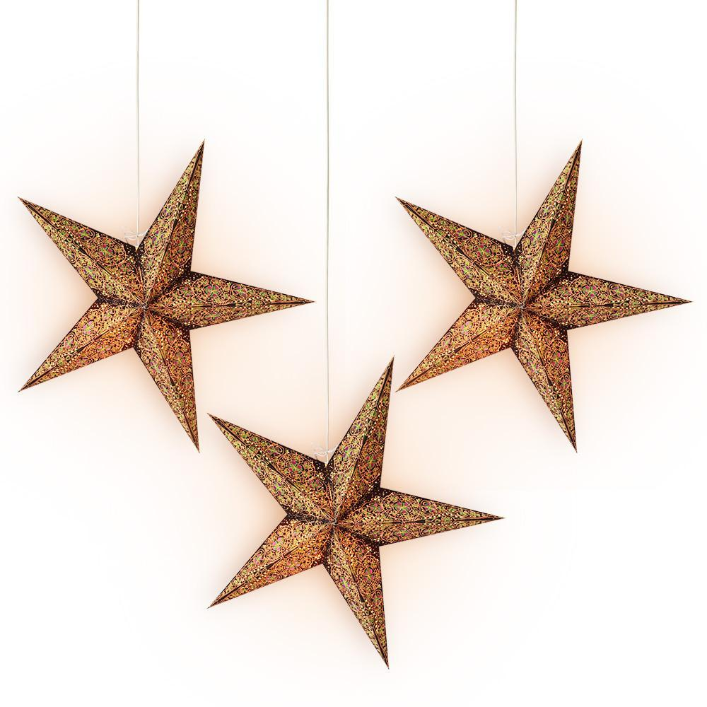 "3-PACK + Cord | 24"" Brown / Gold Garden Paper Star Lantern and Lamp Cord Hanging Decoration - PaperLanternStore.com - Paper Lanterns, Decor, Party Lights & More"