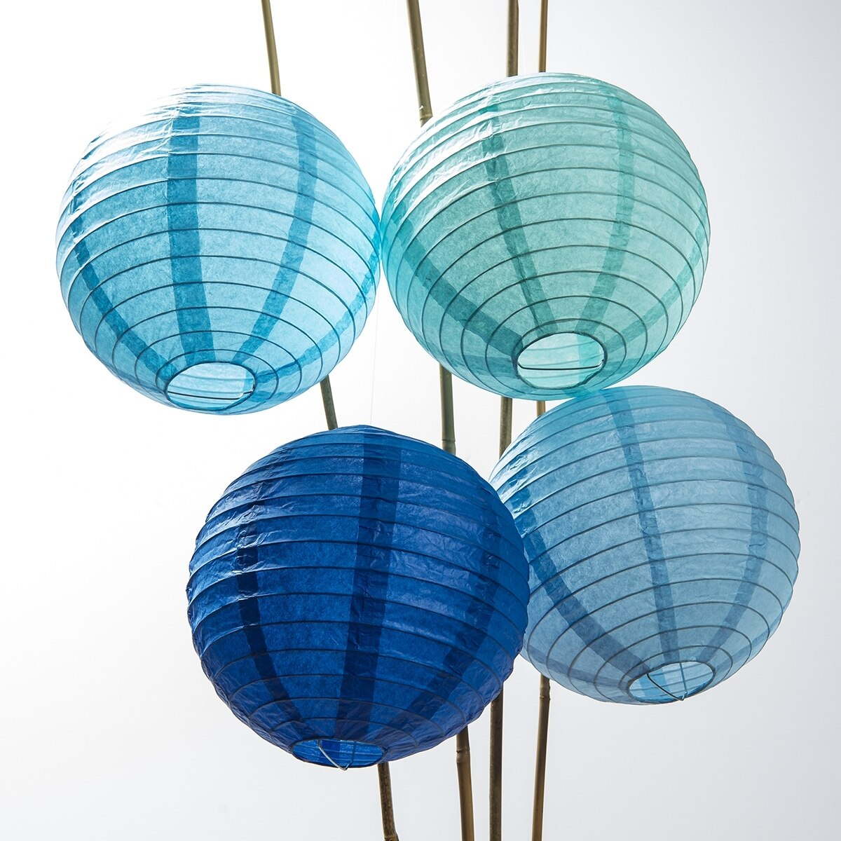12-Pack of 8 Inch Multicolor Blue No Frills Paper Lanterns