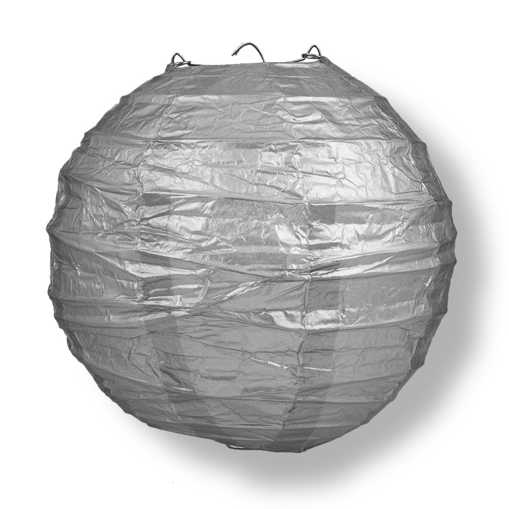 "12"" Silver Round Paper Lantern, Crisscross Ribbing, Chinese Hanging Wedding & Party Decoration"