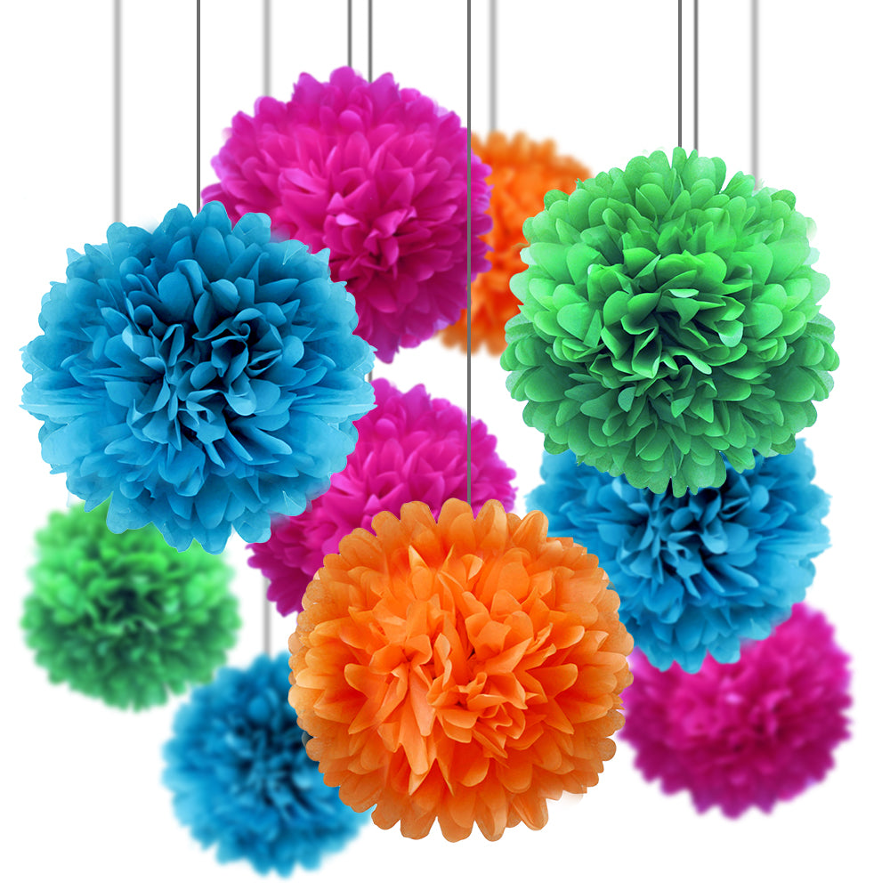 Summer Celebration Party Pack Tissue Paper Pom Pom Combo Set (16 pc Set) - PaperLanternStore.com - Paper Lanterns, Decor, Party Lights & More