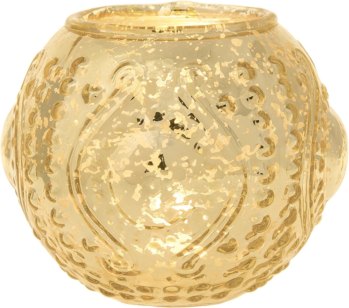 Vintage Mercury Glass Candle Holder (5.75-Inches, Large Josephine Design, Gold) - Use with Tea lights - for Home Decor, Parties and Wedding Decorations - PaperLanternStore.com - Paper Lanterns, Decor, Party Lights & More