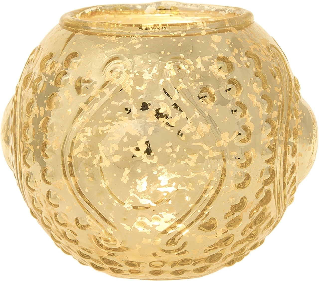 BLOWOUT Mercury Glass Candle Holder (5.75-Inches, Large Josephine Design, Gold) - Use with Tea lights - for Home Decor, Parties and Wedding Decorations