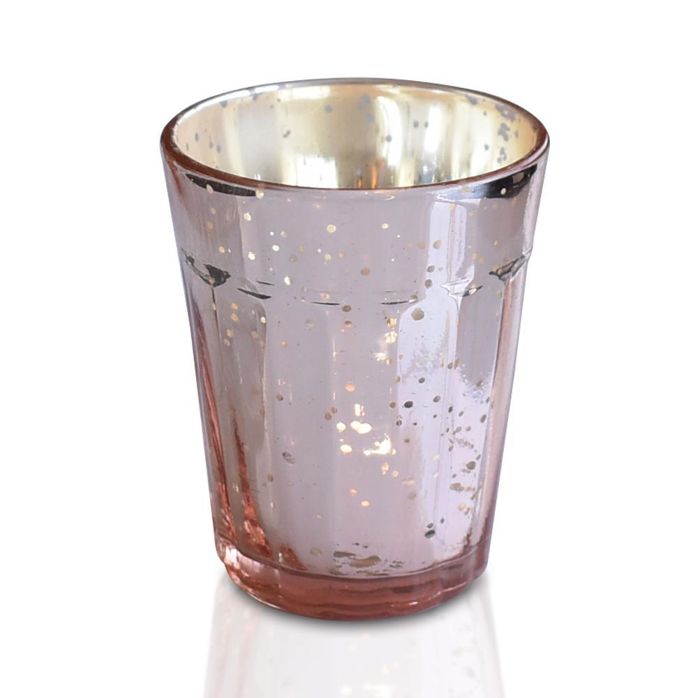 Bohemian Chic Rose Gold Mercury Glass Tea Light Votive Candle Holders (Set of 5, Assorted Designs and Sizes)