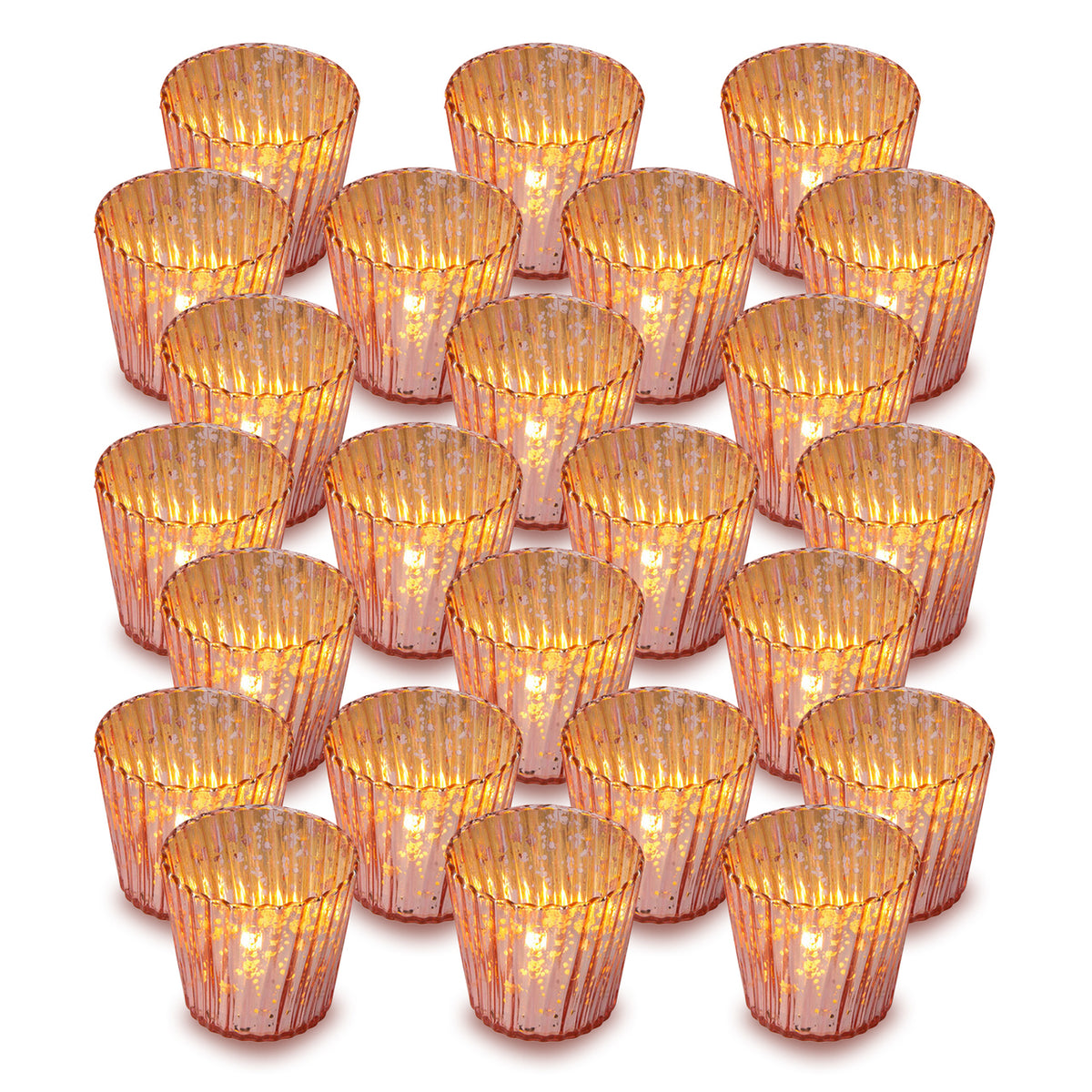 24 Pack | Vintage Mercury Glass Candle Holders (3-Inch, Caroline Design, Vertical Motif, Rose Gold Pink) - For use with Tea Lights - Home Decor, Parties and Wedding Decorations - PaperLanternStore.com - Paper Lanterns, Decor, Party Lights & More