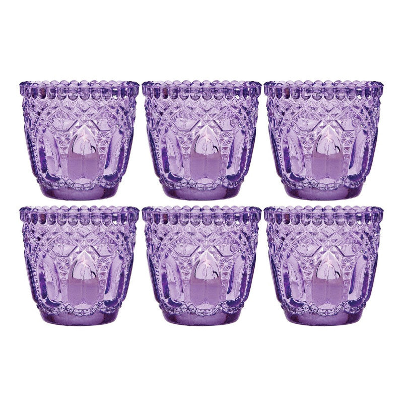 6 Pack | Lillian Faceted Vintage Glass Candle Holders (Light Purple) For Use with Tea Lights - For Home Decor, Parties and Wedding Decorations