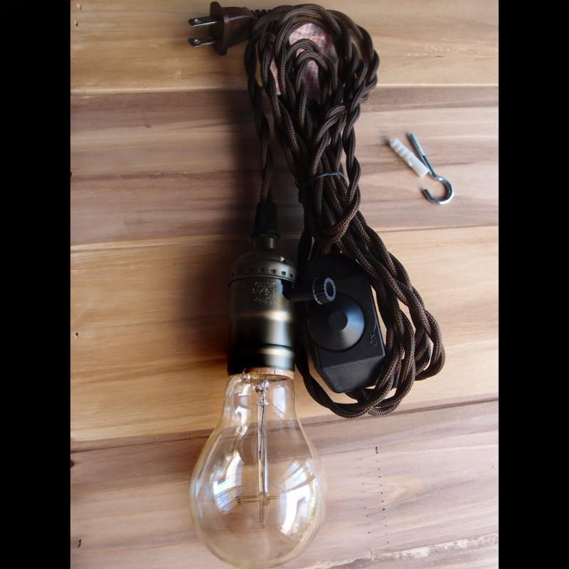 Single Copper Socket Vintage-Style Pendant Light Cord w/ Dimmer Switch Switch, 11 FT Twisted Brown Cloth Cord - Electrical Swag Light Kit - PaperLanternStore.com - Paper Lanterns, Decor, Party Lights & More
