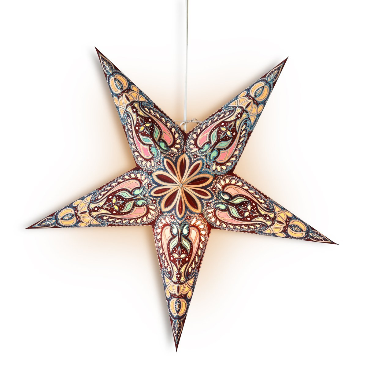 "24"" Brown Alaska Glitter Paper Star Lantern, Hanging Wedding & Party Decoration - PaperLanternStore.com - Paper Lanterns, Decor, Party Lights & More"