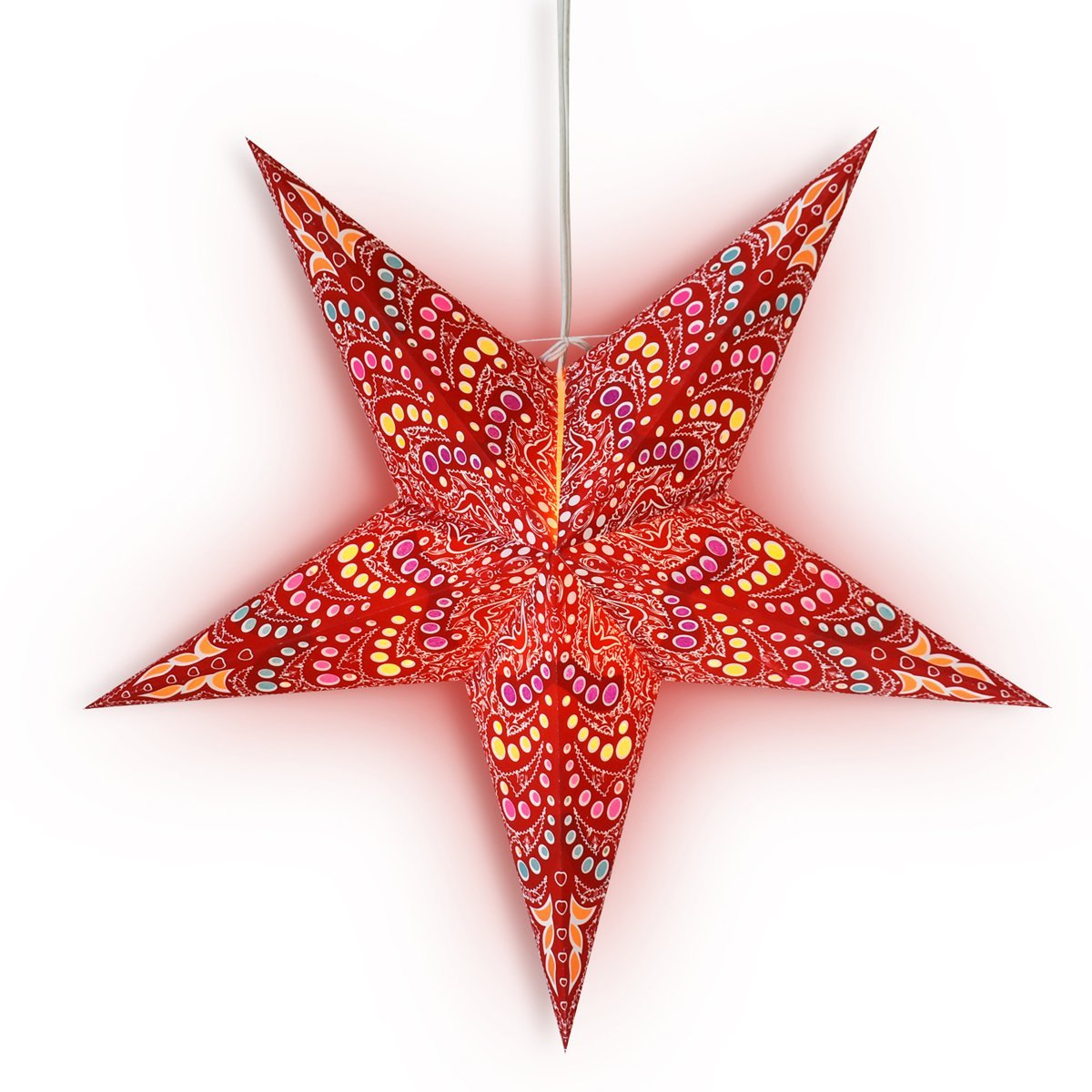 "3-PACK + Cord | 24"" Red Aloha Paper Star Lantern and Lamp Cord Hanging Decoration - PaperLanternStore.com - Paper Lanterns, Decor, Party Lights & More"